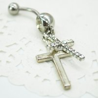 aqua barbells - 2015 New Special Rhinestone Double Cross Dangle Navel Belly Button Barbell Ring Body Piercing F60SS0240W