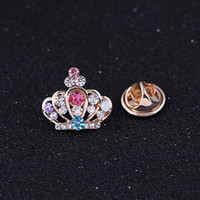 Wholesale Korean Clip Brooches - Free postage 2016 new upscale small crown Korean small collar shirt collar pin female collar clip brooch crystal brooch pin scarf buckle