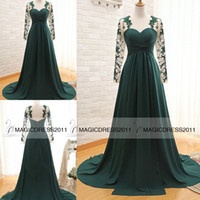 Cheap 2015 Dark Green Prom Evening Dresses with Long Sleeve A-Line Crew Appliques Pleated Long Chiffon Formal Pageant Gowns Party Dress