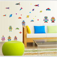 Wholesale Kids Room Wall Stickers Wall Decal Removable Decorative Stickers Cartoon Robot For Kids PVC Bathroom Glass Stickers