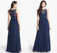 Reference Images A-Line Jewel Navy Blue Chiffon Long Bridesmaid Dresses Lace 2015 Floor Length Empire Waist Jewel Neckline Sheer Zipper Back Honor Bridal Maid Gowns XQ