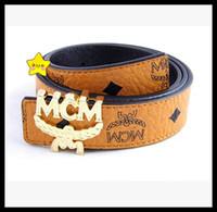 Wholesale MCM Genuine Leather Belts Colors Men Women designer belt boutique Gold Silver Plated MCM Letter Buckle Women Fashion Belts Accessori