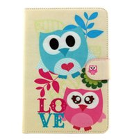 android animal cases - Night Owls Family Prints Folio Standing Android Tablet PU Leather Case For ipad mini