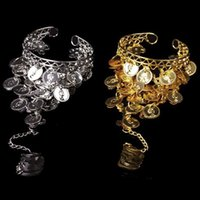 Wholesale Fashion Women Dancer Belly Dance Hand Chain Ring Bracelet costume Decoration with silver gold colors