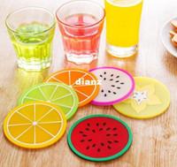 antiskid mat - Fruit shape coasters silicone round coasters heat insulation pad antiskid cup mat