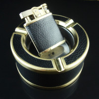 Wholesale High quality fashion Black Leather ashtray lighter with green flame ashtray set