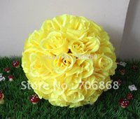 Wholesale Artificial silk kissing rose flower ball yellow color cm