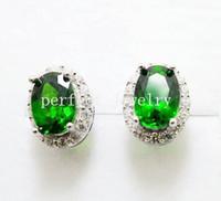 Wholesale Diopside stud earring Natural real diopside sterling silver Fine green gemstone earrings For men or women earrings DH