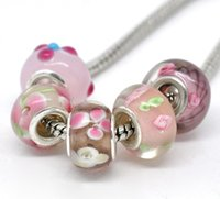 Wholesale ashion Jewelry Beads Mixed Glass Lampwork European Beads Fits Charm Bracelets Necklaces For Jewelry Making DIY Findings x10mm pc