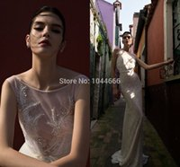 inbal dror - Inbal Dror Inspired Mermaid Wedding Dresses Crystals Sequins Lace Wedding Dress with Sheer Scoop and Removable Tulle Train