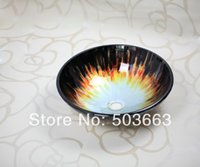 Wholesale Modern Hand painted Artistic Victory Vessel Wash Basin Tempered Glass Sink Bathroom Basin With Brass MF