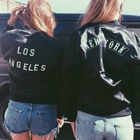 angeles cover - bomber jacket women new fashion fall winter long sleeve Los Angeles New York printed black jackets coat chaquetas mujer FG1511