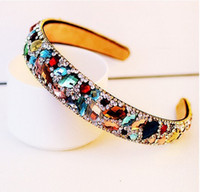 Cheap Free Shipping 2015 New Korean Hair Accessories Luxury Colorful Crystal Hairbands Rhinestone Headbands For Women Hair Jewelry