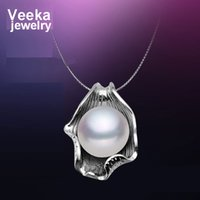 pearl - Veeka jewelry natural freshwater pearl pendant with silver chain sterling silver necklace fashion necklace for women