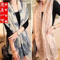 big lace scarf - Women Scarf Luxry Brand Lady Bandana Dots Spot Big Flower Chiffon Soft Shawl Scarf Neck Wrap Headscarf Pashmina Styles Colors New Fashion