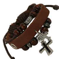 Cheap Vintage Retro Handmade Wooden beads Adjustable With the Cross Leather Bracelet For Women Men Unisex Jewelry Star Bracelet Bangle