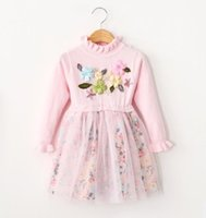 Cheap Handmade Flowers Smocking Ruffles Long Sleeve Dress Children Girls Knitted Gauze Patched Florals Party Dresses Pink Rose Grey Yellow B3686