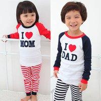 Wholesale Baby Girl Boy Long Sleeve T shirt Tops Stripe Pants Sets Homewear Clothes