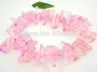 Wholesale Full strand Druzy Crystal Point Beads Druzy Quartz Stone Loose Bead in Pink color Rock Crystal Drusy Chain Beads