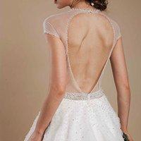 Cheap 2015 Beads Backless Wedding Dresses Jewel Neckline Short Sleeves Sequins Bridal Gown Floor-length Beading Plus Size Vestido De Novia Tulle