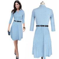 high end clothing - Woman Bodycon Dresses European and American High end Women s Lapel Polka Dot Blue Pencil Shirt Dress Women Dresses Work Formal Clothes