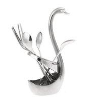 Wholesale Delicate Stylish cooking tools Stainless Steel Swan shaped Dessert Tableware Spoon Fork Set Aparelho De Jant