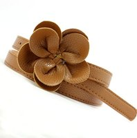 Wholesale New sweet flowers PU leather thin Waistband girdle women girl belt for skirt BE156