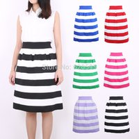 skater skirt - Casual Striped High Waist Ball Gown Pleated Midi Skater Skirt Fashion Skirt For Women Girl Colors