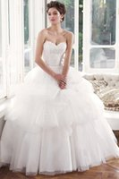 beautiful dresses uk - Beautiful Ball Gown Sweetheart Sweep Brush Train Tulle Fabric UK Wedding Dresses With Appliques Sleeveless Tiers