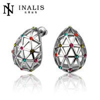 web design - E834 New Design Unique Jewelry K Platinum Hollow Oval Web Shape Colorful Crystal Stud Earrings for Women Men Party Gift