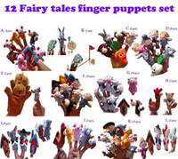 baby tortoise - 12 Fairy tales finger pupets set Animal Finger Puppet Baby Educational Toys dolls Pigs Tortoise Lions