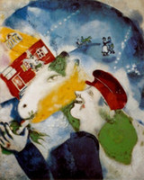 One Panel art peasants - Wall Art Modern Peasant Life Marc Chagall Painting Canvas Reproduction High quality Hand painted