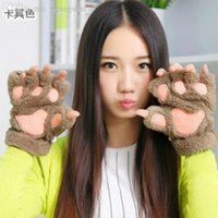 Wholesale New Fluffy Bear Cat Plush Paw Claw Glove Novelty Halloween Soft Toweling Half Covered Gloves Mittens
