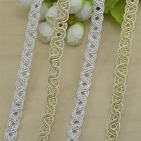 Wholesale S type bead pearly luster Lace gold silver pattern polyester lace rope cm meters