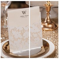 amazing fold - Amazing Lace Floral Free Personalized Customized Printing Wedding Invitations Cards Custom White Wedding Suppliers