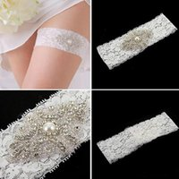 leg garter - Lace Bridal Garters White Ivory Cheap Sexy with Crystal Beads Wedding Leg Garters Bridal Accessories A053