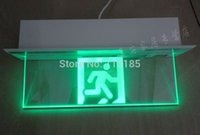Wholesale New Design W Green Light Glass Panel hours Duration LED Emergency Exit Sign CE RoHS IP30 Wall Mounted