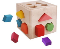 wooden matches - 13 Hole Cube for Shape Sorter Cognitive and Matching Wooden Toys