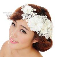 Cheap 2014 Bridal Hair Accessories Handmade Lace Hair Rhinestone Party Crystals Flower Headband Wedding Hair Pearl Beads Bridal Hair Piece