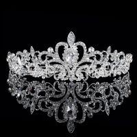 Cheap Shining Beaded Crystals Wedding Crowns 2015 Bridal Crystal Veil Tiara Crown Headband Hair Accessories Party Wedding Tiara