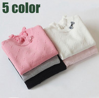 Wholesale Cotton Long Underwear Shirts Wholesale - kids clothes 2015 Girl Autumn Winter Underwear 100% Cotton Turtleneck Long-sleeve bow BasicGirl Girl Bottoming Shirts