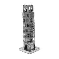Wholesale The Leaning Tower of Pisa d model of miniature DIY metal nanometer metal three dimensional jigsaw puzzle silver