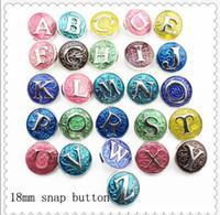 achat en gros de bracelets de charme lettres-JACK88 26pcs Colorful / lot initial 18mm A-Z Alphabet Snaps Lettre Snap bouton Bijoux Bijoux Bracelet à breloques Ginger snap N838