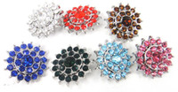 Wholesale Free drop shipping new arrive cm alloy shiny rhinestone charm DIY snap button metal charms color available