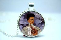 american artist - 10pcs Frida Kahlo Necklace Feminists Artist Jewelry Art Pendant Glass Photo Cabochon Necklace