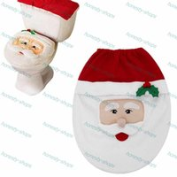 Wholesale Snowman Toilet Seat Cover and Rug Bathroom Set Christmas Decoration