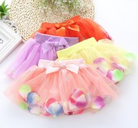 tutu skirts - Baby Kids Clothes Princess Girls Lace Petals Butterfly Tutu Skirts Korean Children Clothing Girl Bowknot Skirt Pink Yellow Pureple J4910