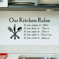 Wholesale 2015 hot Quote Vinyl Art Wall Stickers Decal Our Kitchen Rules Mural PVC Wall Decor free ship