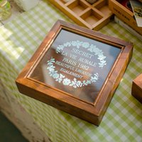 Wholesale Factory direct zakka do the old wooden storage box vintage glass jewelry box MM414