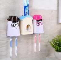 bathroom wall hung - Creative Hanging Toothbrush Holders Cute House Figure Design Strong Wall Suction Cup Toothpaste Toothbrush Holder Bathroom Set MC